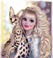 Голубоглазая красотка с кошкой