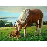 Лошадь с жеребенком на холме