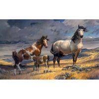 Семья лошадей в степи