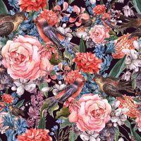 Композиция из цветов и птиц