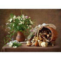 Корзинка с грибами и кувшин с цветами