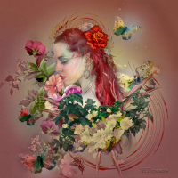 Образ девушки в цветочной композиции