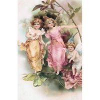 Викторианские открытки с изображениями ангелочков и эльфов