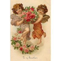Викторианские открытки с изображениями ангелочков и эльфов 2