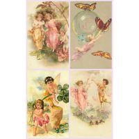 Викторианские открытки с изображениями ангелочков и эльфов 3