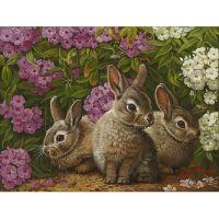 Три  зайченка и цветы