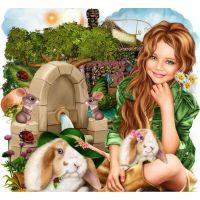 Девочка и кролики