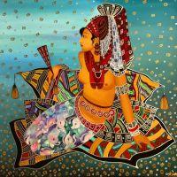 Женщина на ковре. Индийская живопись.