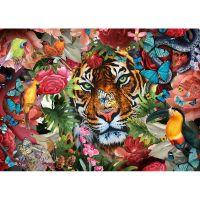 Лицо тигра в цветочной композиции