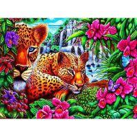 Два леопарда и водопад
