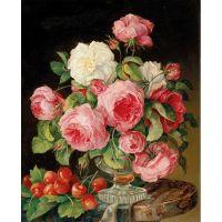 Натюрморт с розами и черешней