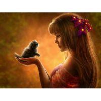 Девушка с маленьким котенком