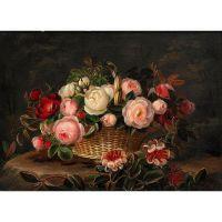 Натюрморт с цветами в корзинке . Йохан Лоренц Дженсен