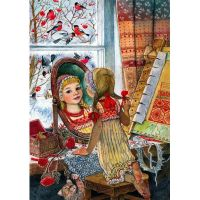 Девочка у зеркала. иллюстратор Ирина Егорова.