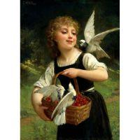 Девочка и голуби. Эмиль Мунье