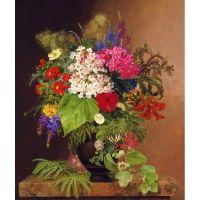Цветы в греческой вазе . Датский художник Johan Laurentz Jensen.