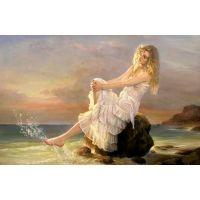Девушка в белом и море