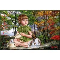 Милая девочка с кроликами