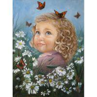 Голубоглазая малышка и бабочки
