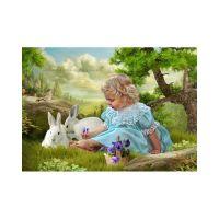 Малышка с зайчатами
