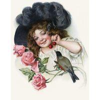 Винтажная открытка Девочка с вишенкой