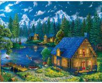 Домики у ночного озера